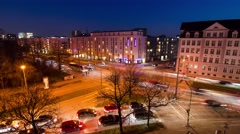 Traffic at intersection in Munich - 4K time lapse Stock Footage