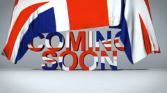 Uk Flag lifts to reveal Coming Soon text Stock Footage