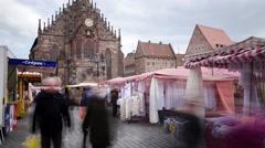 People in Market in Nurberg - 4K time lapse Stock Footage