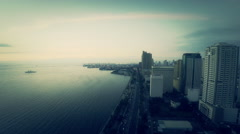 Manila Bay aerial view Stock Footage