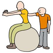 Womand stretching with her trainer - stock illustration