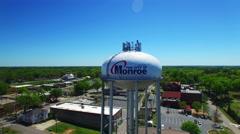 Monroe GA water tower fly around Stock Footage