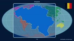 Belgium - 3D tube zoom (Mollweide projection). Continents - stock footage