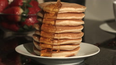 Homemade Pancake Stack Drizzled In Syrup 4K Stock Footage