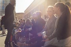 People enjoing outdoor street food festival in Ljubljana, Slovenia. - stock photo