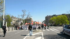 Hundreds of people demonstrate in Strasbourg avenue Stock Footage