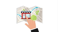 Store location on map, video animation Stock Footage
