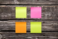 Blank different colors sticky note paper sheets - stock photo