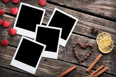 Four blank instant photo frames with heart Stock Photos
