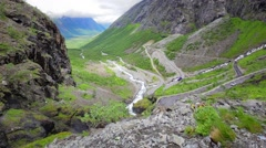 Trollstigen serpentine mountain road, Norway Stock Footage
