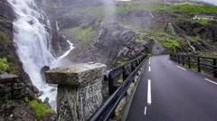 Stigfossbrua bridge, Stigfossen waterfall, Romsdal, Norway Stock Footage
