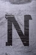 Black grunge alphabet. Letter N Stock Photos
