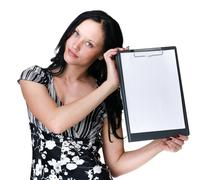 Young business woman showing blank signboard over white Stock Photos