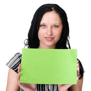 young business woman showing blank signboard over white - stock photo
