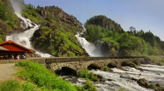 Latefossen waterfall, Norway Stock Footage