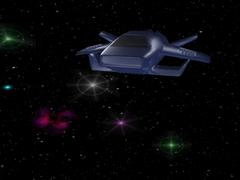 Blue spaceship - stock illustration