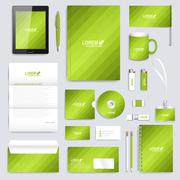 Green set of vector corporate identity template. Modern business stationery mock - stock illustration