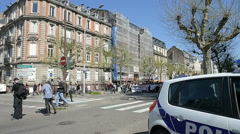 Closed Avenue des Vosges as hundreds of people demonstrate Stock Footage