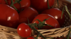 Basket Of Fresh Vine Tomatoes In Kitchen Stock Footage