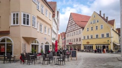 People in the centre of Nordlingen - 4K time lapse Stock Footage