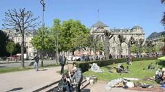 Place de la Republique with Palais du Rihn in the background Stock Footage