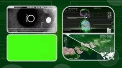 Eye Closeup - Analysis in software - examination - background green 03 - stock footage