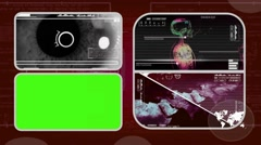 Eye Closeup - Analysis in software - examination - background red 03 - stock footage