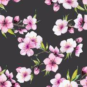 Stock Illustration of Watercolor sakura pattern