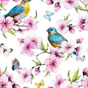 Watercolor sakura pattern Stock Illustration
