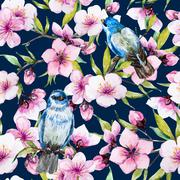Watercolor sakura pattern - stock illustration