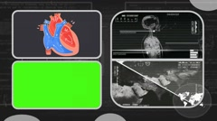 Vector Heart - Analysis in software - examination - background grey 03 Stock Footage