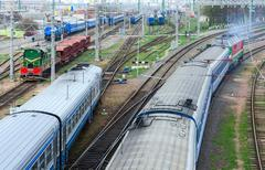 Top view of the moving trains, Gomel, Belarus - stock photo