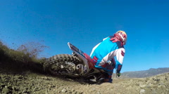 Slow Motion Extreme Motocross Rider On Dirt Track Stock Footage
