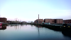 Old Buildings at Albert Docks in Liverpool Stock Footage