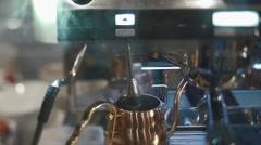 Coffee machine brewing hot fresh coffee close up Stock Footage
