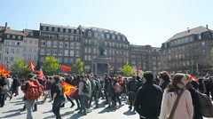 People marching on street France Stock Footage