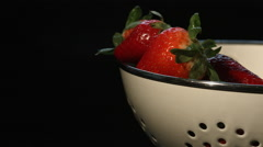 A Bowl of Fresh Ripe Strawberries Stock Footage