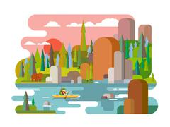 Rafting on river flat style Stock Illustration