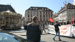 Place Gutenberg with protesters Stock Footage