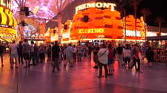 Las Vegas Fremont Street downtown night tourists casino 4K Stock Footage