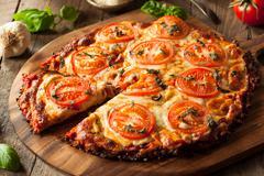 Homemade Vegan Cauliflower Crust Pizza - stock photo
