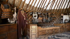 Military yurt in the Middle Ages Stock Footage