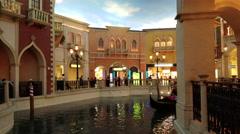 Las Vegas gondola canal resort tourist area 4K Stock Footage