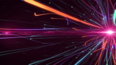Flow glowing particles with trails on dark background Stock Footage