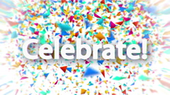 Celebrate sign with falling colorful confetti animation Stock Footage