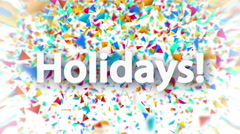 Holidays sign with falling colorful confetti animation - stock footage