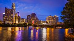 Austin, Texas Downtown Skyline at Night Stock Photos