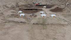 Yurt in the desert in the Middle Ages Stock Footage