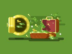 Suitcase and safe with money - stock illustration