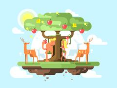 Adam and Eve near a tree - stock illustration